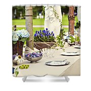 Garden Wedding Table Setting Shower Curtain