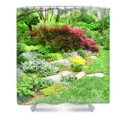 Garden With Japanese Maple Shower Curtain