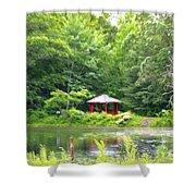 Garden With Pond Shower Curtain