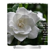 Gardenia Bloom And Scripture Shower Curtain
