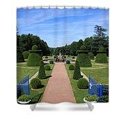 Gardenpath With Blue Gates - Burgundy Shower Curtain