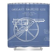 Garland Machine Gun Patent Drawing From 1892 - Light Blue Shower Curtain