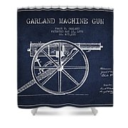 Garland Machine Gun Patent Drawing From 1892 - Navy Blue Shower Curtain