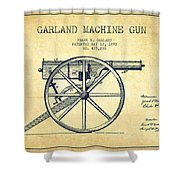 Garland Machine Gun Patent Drawing From 1892 - Vintage Shower Curtain