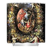 Garland Of Fruit And Flowers Shower Curtain