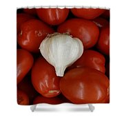 Garlic And Tomatoes Shower Curtain