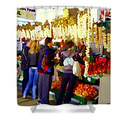 Garlic Festival Farmers Market Food Vendors Onions Garlic Farm Fresh Chef Art Carole Spandau Shower Curtain