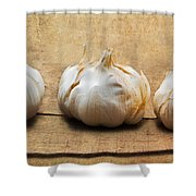 Garlic On Old Barrel Board Shower Curtain