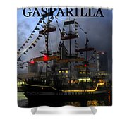 Gasparilla Ship Work A Print Shower Curtain
