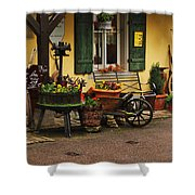 Gast Haus Display In Rothenburg Germany Shower Curtain by Greg Matchick