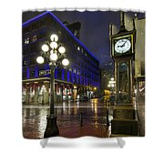 Gastown Steam Clock On A Rainy Night Shower Curtain