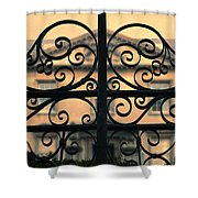 Gate In Front Of Mansion Shower Curtain