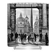 Gate To Piazza Del Popolo In Rome Shower Curtain