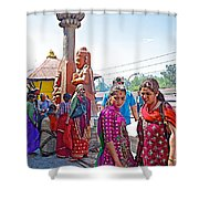 Gathering At Hindu Festival Of Ram Nawami In Kathmandu-nepal Shower Curtain