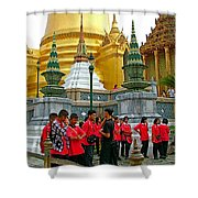 Gathering Near Pagodas Of Grand Palace Of Thailand In Bangkok Shower Curtain