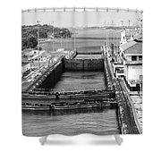 Gatun Locks Panama Monochrome Shower Curtain