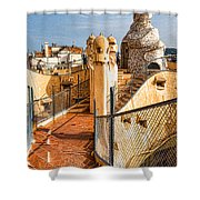 Gaudi Fascinating La Pedrera Rooftop - Impressions Of Barcelona Shower Curtain