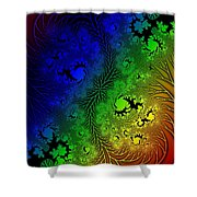 Gaudy Floral Fractal Shower Curtain