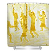 Guarding The Goal Second In Stickball Series Shower Curtain