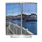 Gazebo 02 Disney World Boardwalk Boat Passing By 2 Panel Shower Curtain