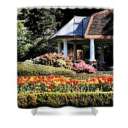 Gazebo And Tulips At Shore Acres Shower Curtain