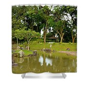 Gazebo Trees Lake And Rock Garden In Singapore Chinese Gardens Shower Curtain