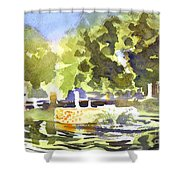 Gazebo With Pond And Fountain II Shower Curtain