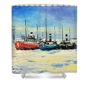 Gdynia Harbour - Winter Shower Curtain