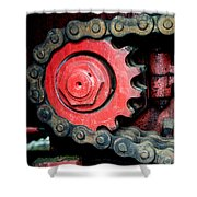 Gear Wheel And Chain Of Old Locomotive Shower Curtain by Matthias Hauser