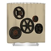 Gears And Pulleys Shower Curtain