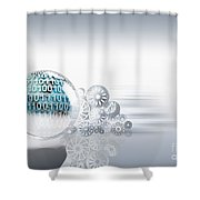 Gears Behind Earth Shower Curtain by Mike Agliolo