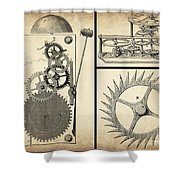 Gears Industrial Or Steampunk Collage Art Shower Curtain