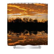 Geese Fly In The Sunset Shower Curtain