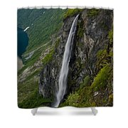 Geirangerfjord Waterfall Shower Curtain
