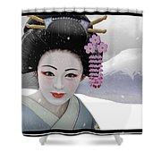 Geisha In Snow On Mt. Fuji Shower Curtain