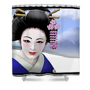 Geisha On Mount Fuji Shower Curtain