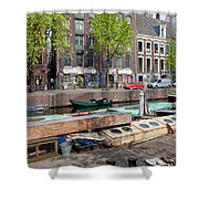Geldersekade Canal In Amsterdam Shower Curtain