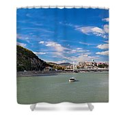 Gellert Hill And Danuber River In Budapest Shower Curtain by Michal Bednarek