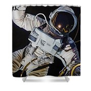 Gemini Iv- Ed White Shower Curtain by Simon Kregar