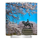 General In The Cherry Blossoms Shower Curtain