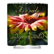 General Party Invitation - Blanket Flower Wildflower Shower Curtain by Mother Nature