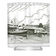 Genius Ready To Fish Gig Harbor Shower Curtain by Jack Pumphrey
