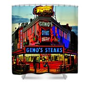Geno's Steaks Shower Curtain by Benjamin Yeager