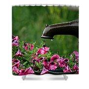 Gentle Rain - Old Water Pump - Pink Petunias - Casper Wyoming Shower Curtain
