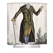 Gentleman In Green Coat, Plate Shower Curtain