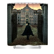 Gentleman In Top Hat And Cape Walking Through Gates Shower Curtain