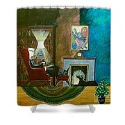 Gentleman Sitting In Wingback Chair Enjoying A Brandy Shower Curtain