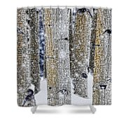 Gently Falling Forest Snow Shower Curtain