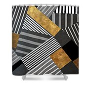 Geo Stripes In Gold And Black II Shower Curtain