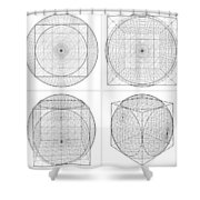 Geometric Intersection Of Cube And Sphere  Shower Curtain